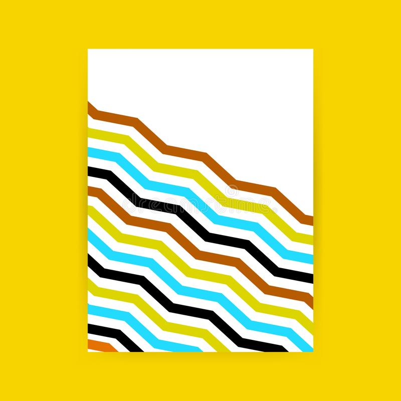 Minimalist cover design. Black, yellow, brown, blue and white in the form of lines. Future geometric patterns. EPS 10 vector illustration