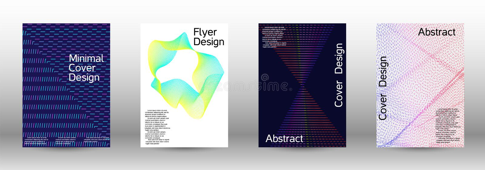 Cover design template set. Minimum coverage of a vector. A set of modern abstract backgrounds with abstract gradient linear waves. Sound flyer for creating a stock illustration