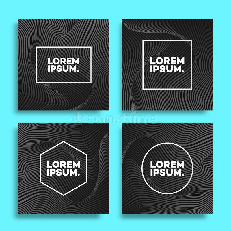 Cover design template set square shape with lines black vector illustration
