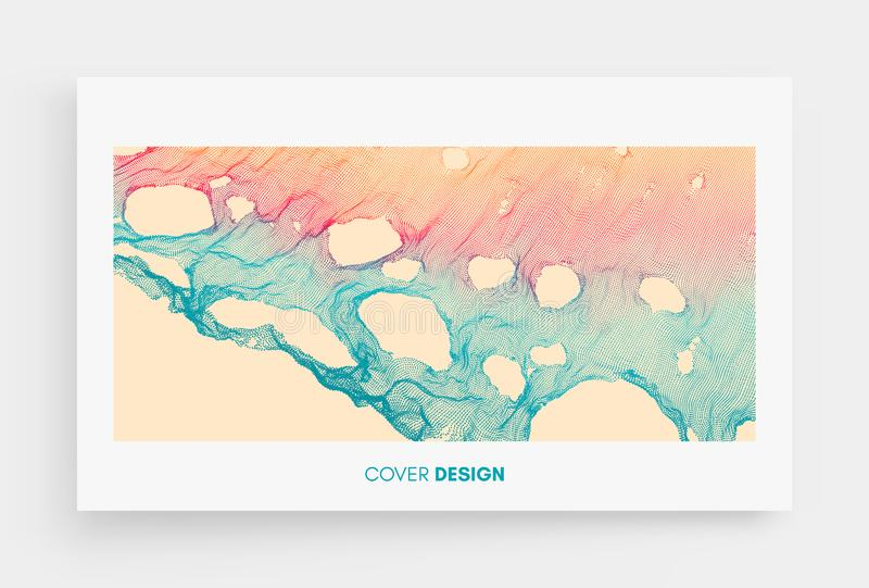 Cover design template. This spiderweb has been broken. Abstract grid background with hole. Array with dynamic particles. Texture. 3D grid surface. Technology stock illustration