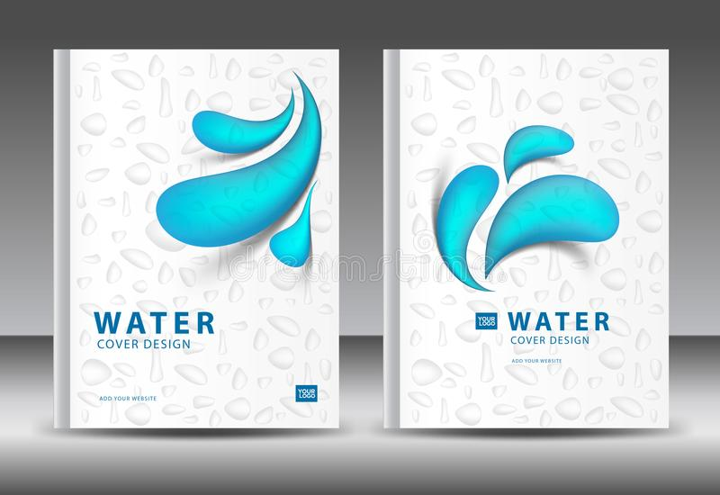 Cover design template vector for water Business, Annual report, brochure flyer template, advertisement, magazine ads. Book, catalog, vector layout in A4 size royalty free illustration