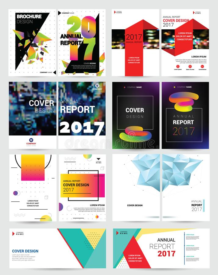 Cover design vector annual report template of brochure for business presentation reporting annualy illustration set royalty free illustration