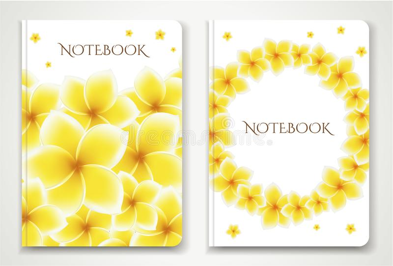Cover designI of Notebook/ Planner with isolated Frangipani / plumeria flowers royalty free illustration