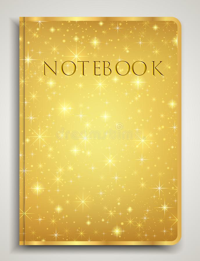 Cover designI of Notebook/ Planner with isolated sparkling twinkling Stars texture on abstract Gold background vector illustration