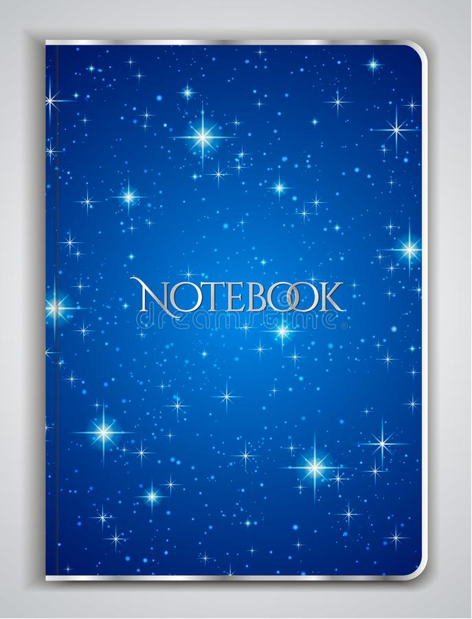 Cover designI of Notebook/ Planner with isolated sparkling twinkling Stars texture on abstract Night Sky blue background royalty free illustration