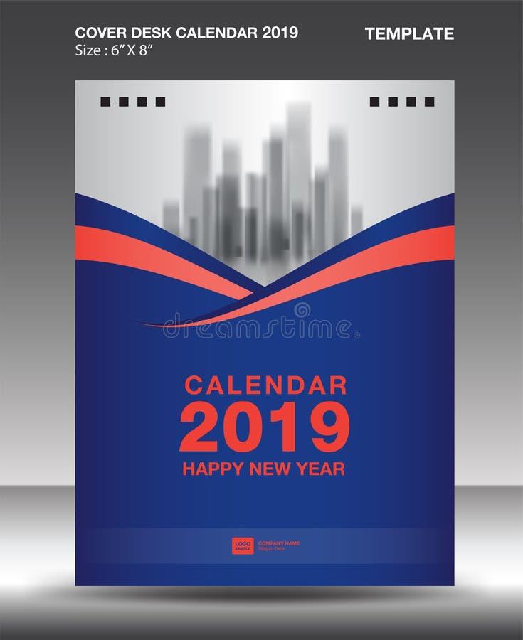 Cover Desk Calendar 2019 Design template, flyer template, ads, booklet, catalog, newsletter, book layout, printing media. Advertisement, Brochure, Blue orange vector illustration