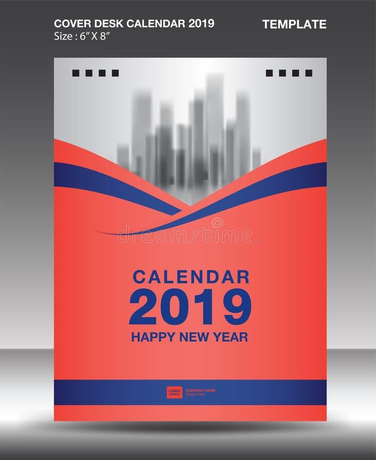 Cover Desk Calendar 2019 Design template, flyer template, ads, booklet, catalog, newsletter, book layout, printing media. Advertisement, Brochure, Blue orange royalty free illustration
