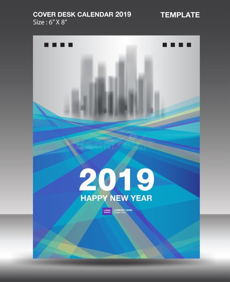 Cover Desk Calendar 2019 Design template, flyer template, ads, booklet, catalog, newsletter, book layout, printing media. Advertisement, Brochure, Blue purple vector illustration