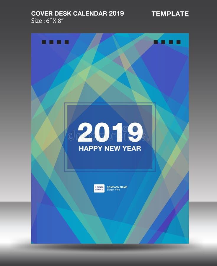 Cover Desk Calendar 2019 Design template, flyer template, ads, booklet, catalog, newsletter, book layout, printing media. Advertisement, Brochure, Blue purple stock illustration