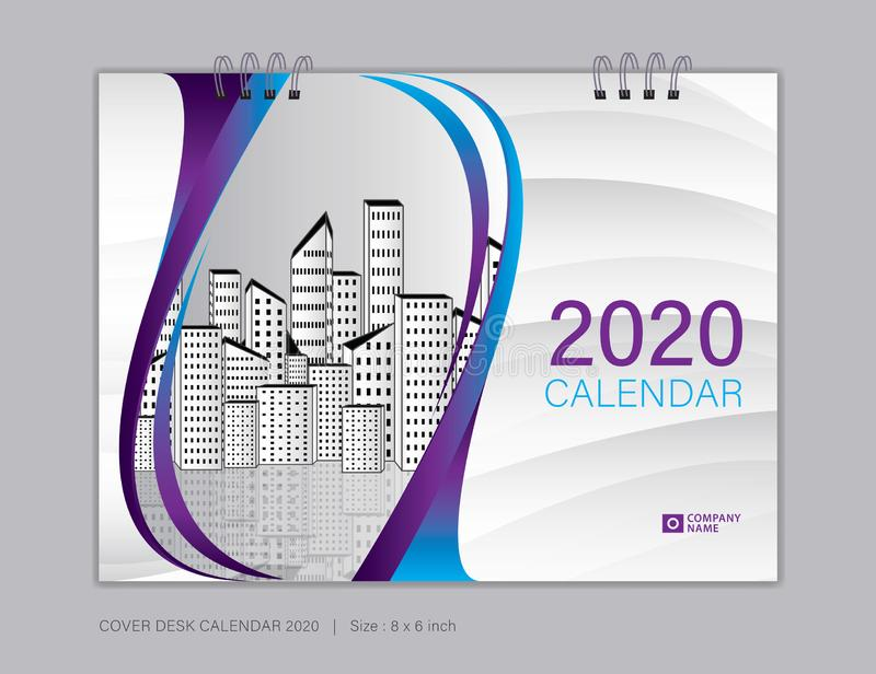 Cover Desk Calendar for 2020 template vector, 8 x 6 inch size, book cover design, brochure, flyer, vector eps10 stock illustration