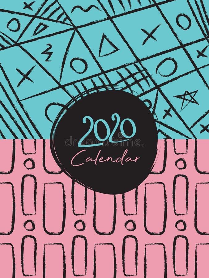 Cover Desk Calendar 2020 Template Vektor, pastellfarbene Memphis Stil Hintergrund lizenzfreie abbildung