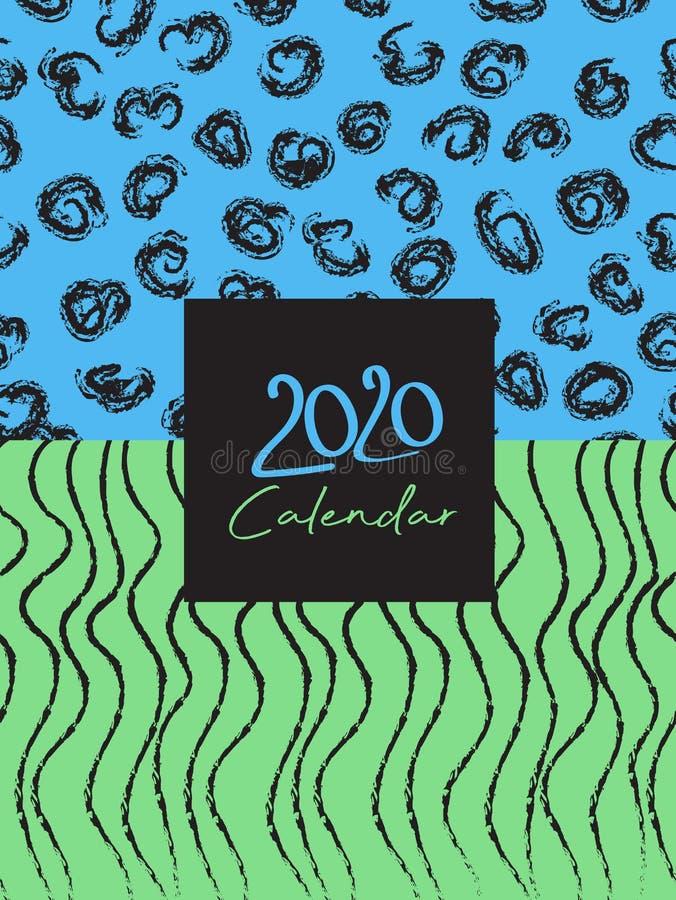 Cover Desk Calendar 2020 Template Vektor, pastellfarbene Memphis Stil Hintergrund vektor abbildung