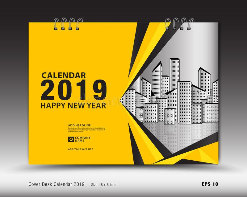 Cover Desk Calendar for 2019 year template vector, book cover layout, annual report, magazine ads, Business brochure flyer royalty free illustration