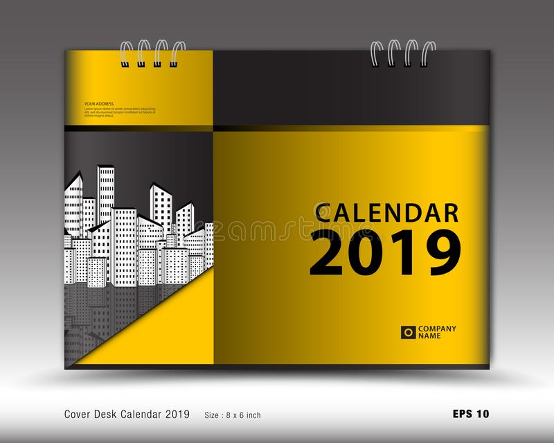 Cover Desk Calendar for 2019 year template vector, book cover layout, annual report, magazine ads, book cover design royalty free illustration