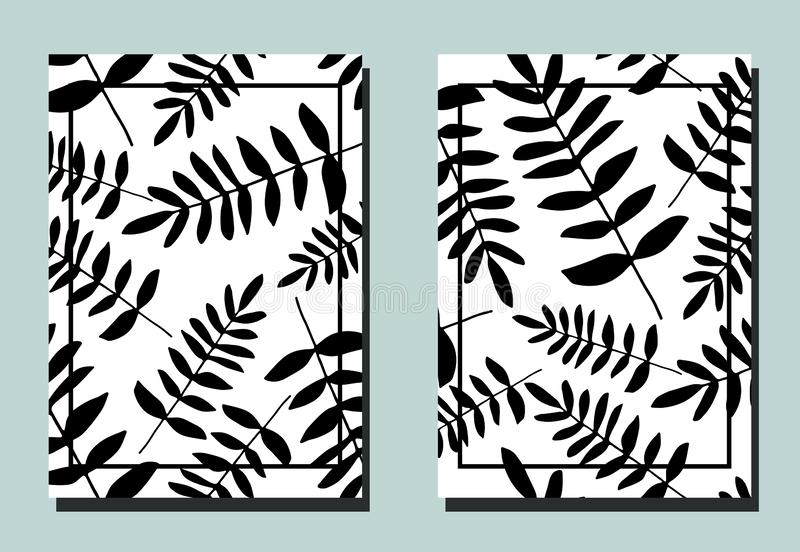 Cover with fern leaves. Black and white colors. Two floral vector templates of flyers. A4 format. Art can be used for placard, flyer, banner royalty free illustration