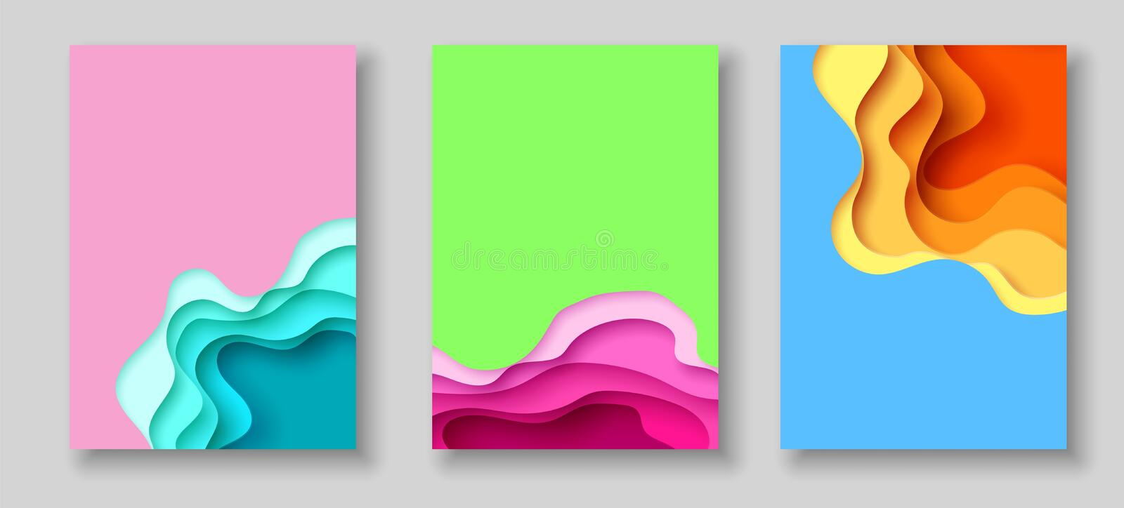 Cover or flyer template with abstract paper cut blue green pink yellow background. Vector template in carving art style royalty free illustration