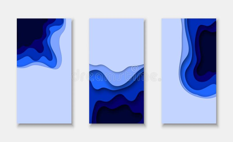 Cover or flyer template with 3d abstract paper cut blue background stock illustration