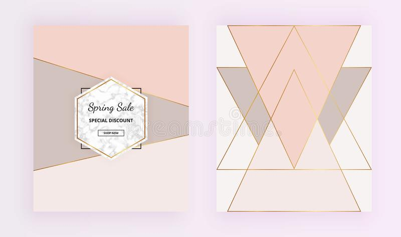 Cover geometric designs with marble stone texture, gold triangles, pastel pink, grey colors background. Trendy template for invita vector illustration