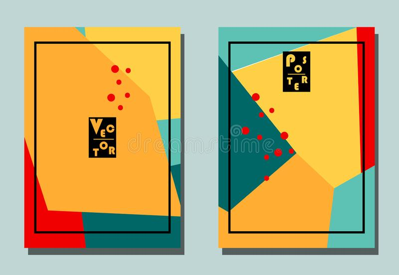 Cover with graphic elements - polygons and dots. Yellow, orange, red, blue colors. Avan-garde cute background. Cubism style. A4 format stock illustration