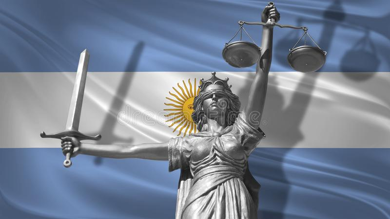Cover about Law. Statue of god of justice Themis with Flag of Argentina background. Original Statue of Justice. Femida, with scale. Symbol of justice with vector illustration