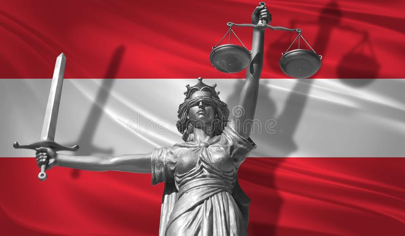 Cover about Law. Statue of god of justice Themis with Flag of Austria background. Original Statue of Justice. Femida, with scale,. Symbol of justice with stock illustration