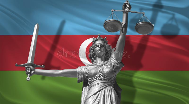 Cover about Law. Statue of god of justice Themis with Flag of Azerbaijan background. Original Statue of Justice. Femida, with scal. E, symbol of justice with royalty free illustration