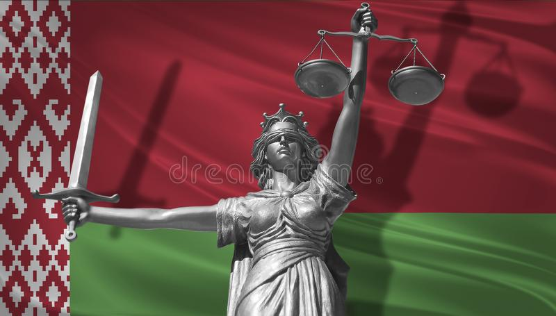 Cover about Law. Statue of god of justice Themis with Flag of Belarus background. Original Statue of Justice. Femida, with scale,. Symbol of justice with stock illustration