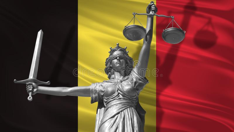 Cover about Law. Statue of god of justice Themis with Flag of Belgium background. Original Statue of Justice. Femida, with scale,. Symbol of justice with royalty free illustration