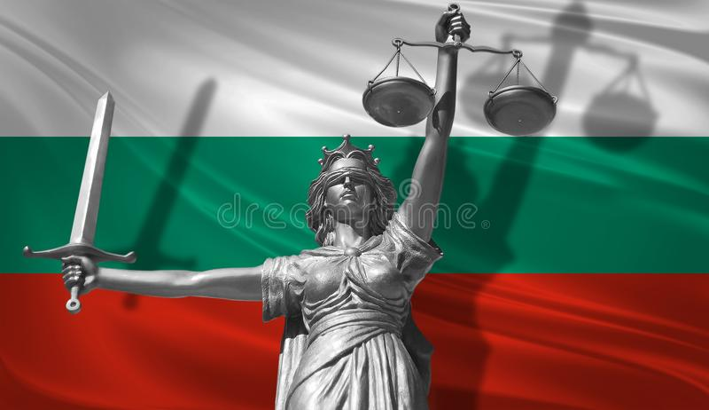 Cover about Law. Statue of god of justice Themis with Flag of Bulgaria background. Original Statue of Justice. Femida, with scale,. Symbol of justice with vector illustration