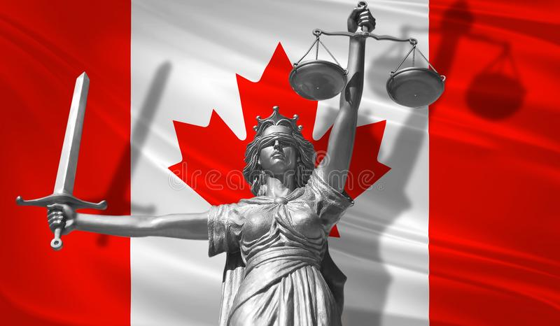 Cover about Law. Statue of god of justice Themis with Flag of Canada background. Original Statue of Justice. Femida, with scale, s. Ymbol of justice with Canada vector illustration