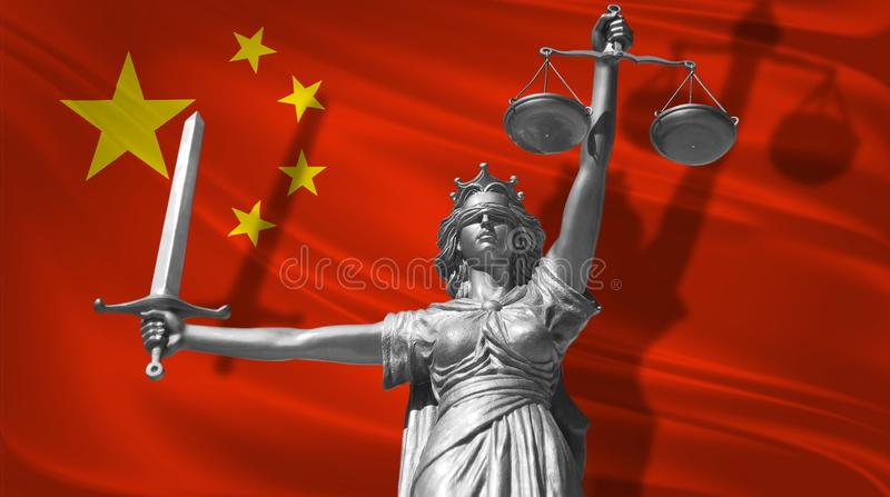 Cover about Law. Statue of god of justice Themis with Flag of China background. Original Statue of Justice. Femida, with scale, sy royalty free illustration
