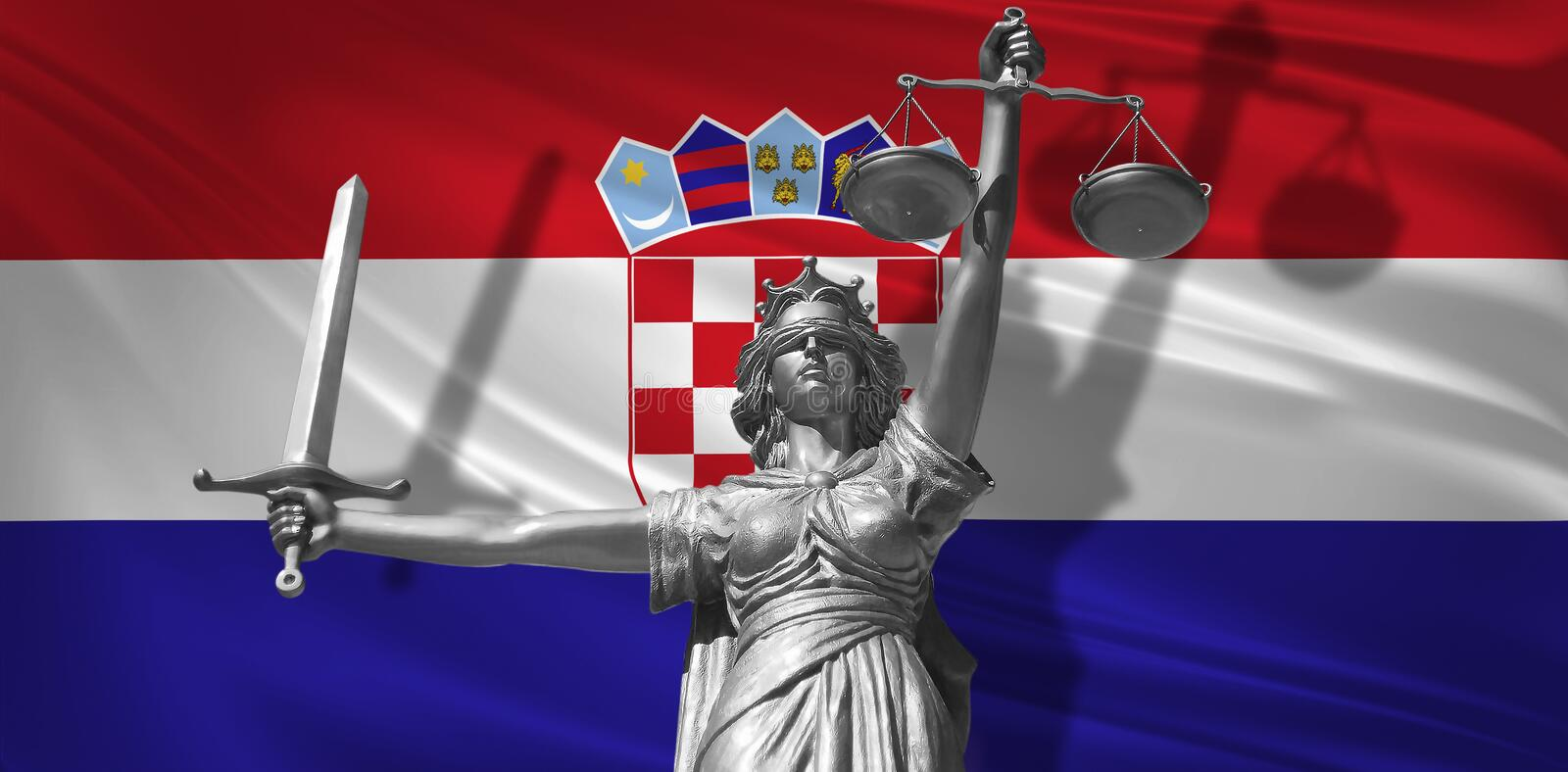 Cover about Law. Statue of god of justice Themis with Flag of Croatia background. Original Statue of Justice. Femida, with scale,. Symbol of justice with vector illustration