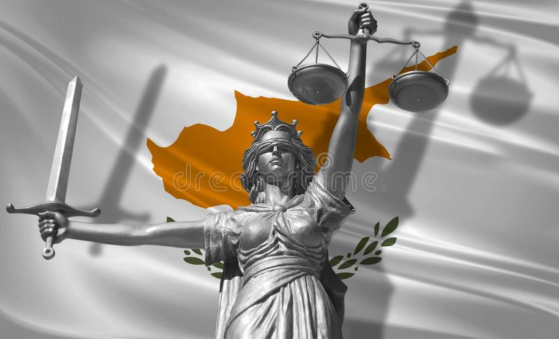 Cover about Law. Statue of god of justice Themis with Flag of Cyprus background. Original Statue of Justice. Femida, with scale, s. Ymbol of justice with Cyprus vector illustration
