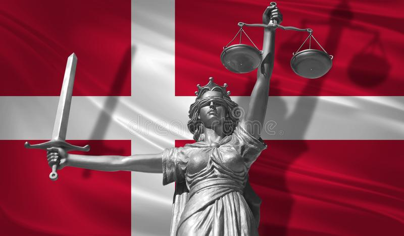 Cover about Law. Statue of god of justice Themis with Flag of Denmark background. Original Statue of Justice. Femida, with scale,. Symbol of justice with stock illustration