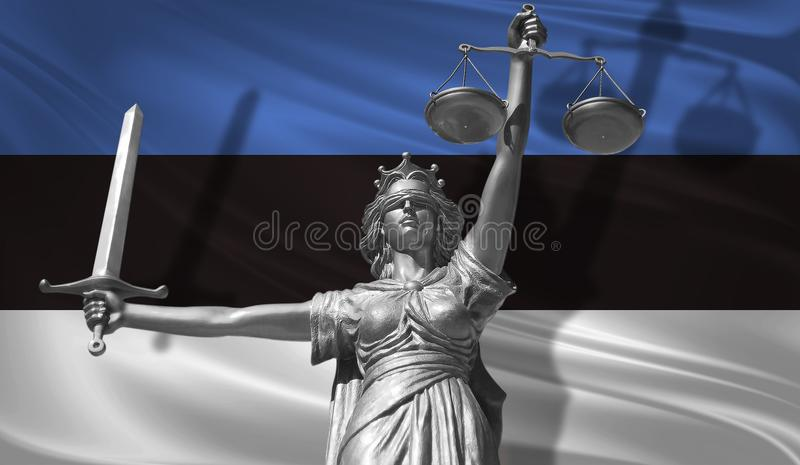 Cover about Law. Statue of god of justice Themis with Flag of Estonia background. Original Statue of Justice. Femida, with scale,. Symbol of justice with waving royalty free illustration