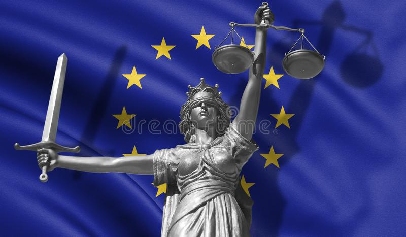 Cover about Law. Statue of god of justice Themis with Flag of European Union background. Original Statue of Justice. Femida, with. Scale, symbol of justice with stock illustration