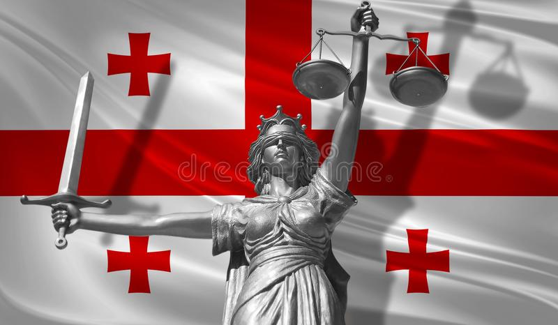 Cover about Law. Statue of god of justice Themis with Flag of Georgian background. Original Statue of Justice. Femida, with scale,. Symbol of justice with vector illustration