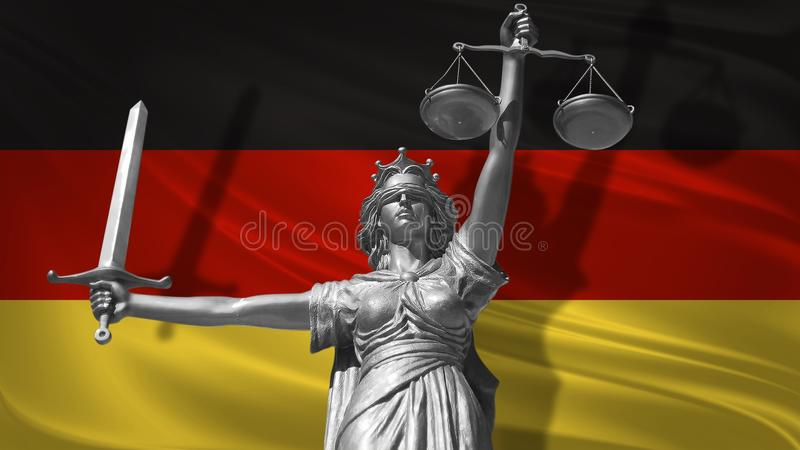 Cover about Law. Statue of god of justice Themis with Flag of Germany background. Original Statue of Justice. Femida, with scale,. Symbol of justice with royalty free illustration