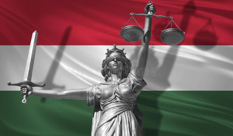 Cover about Law. Statue of god of justice Themis with Flag of Hungary background. Original Statue of Justice. Femida, with scale,. Symbol of justice with stock illustration