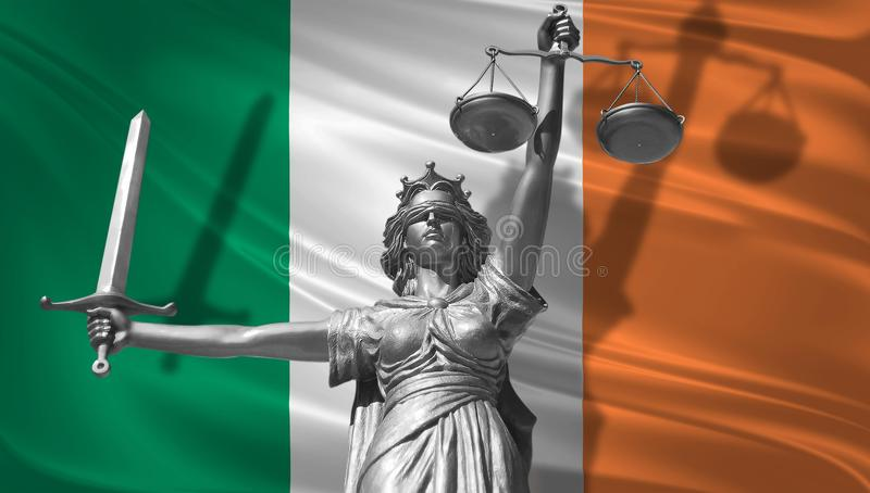Cover about Law. Statue of god of justice Themis with Flag of Ireland background. Original Statue of Justice. Femida, with scale,. Symbol of justice with waving vector illustration