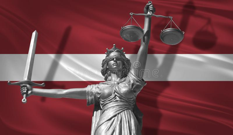 Cover about Law. Statue of god of justice Themis with Flag of Latvia background. Original Statue of Justice. Femida, with scale, s. Ymbol of justice with Latvia royalty free illustration