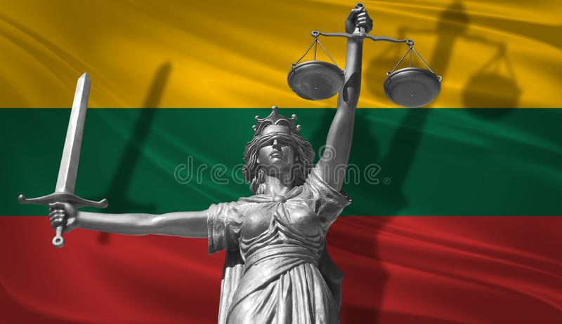 Cover about Law. Statue of god of justice Themis with Flag of Lithuania background. Original Statue of Justice. Femida, with scale. Symbol of justice with stock illustration