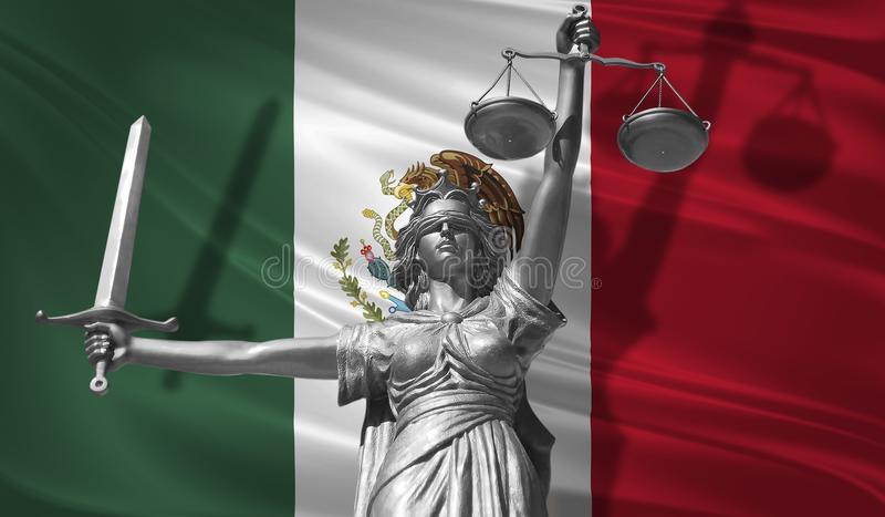 Cover about Law. Statue of god of justice Themis with Flag of Mexico background. Original Statue of Justice. Femida, with scale, s. Ymbol of justice with Mexico vector illustration