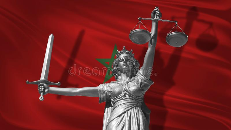 Cover about Law. Statue of god of justice Themis with Flag of Morocco background. Original Statue of Justice. Femida, with scale,. Symbol of justice with stock illustration