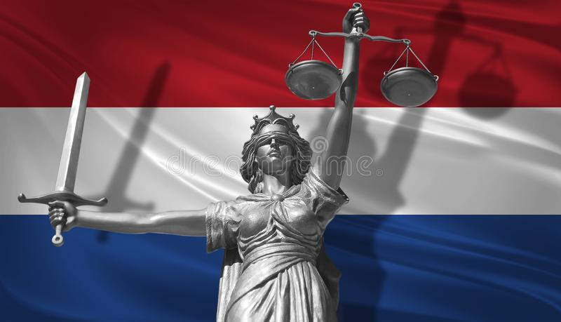 Cover about Law. Statue of god of justice Themis with Flag of Netherlands background. Original Statue of Justice. Femida, with sca. Le, symbol of justice with vector illustration