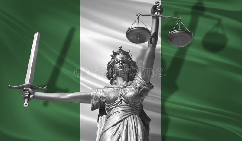 Cover about Law. Statue of god of justice Themis with Flag of Nigeria background. Original Statue of Justice. Femida, with scale,. Symbol of justice with vector illustration