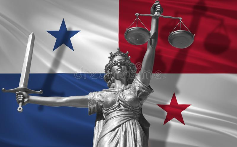 Cover about Law. Statue of god of justice Themis with Flag of Panama background. Original Statue of Justice. Femida, with scale, s. Ymbol of justice with Panama vector illustration