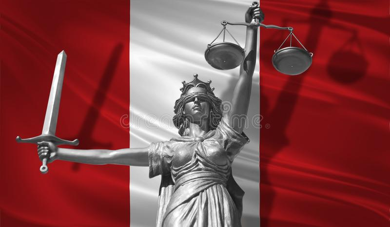 Cover about Law. Statue of god of justice Themis with Flag of Peru background. Original Statue of Justice. Femida, with scale, sym. Bol of justice with Peru flag stock illustration