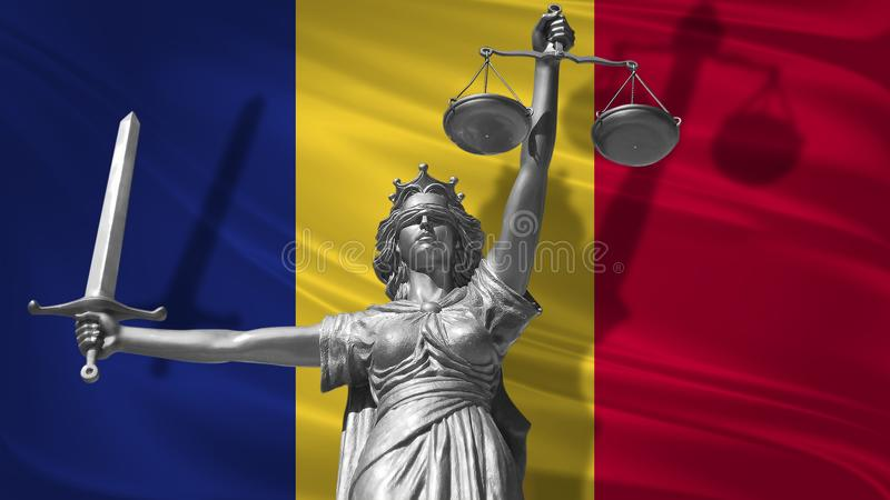 Cover about Law. Statue of god of justice Themis with Flag of Romania background. Original Statue of Justice. Femida, with scale,. Symbol of justice with royalty free illustration