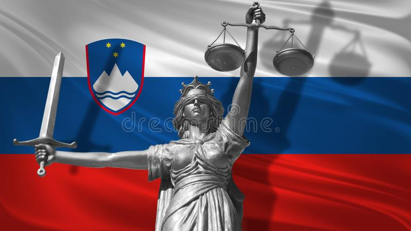 Cover about Law. Statue of god of justice Themis with Flag of Slovenia background. Original Statue of Justice. Femida, with scale,. Symbol of justice with royalty free illustration